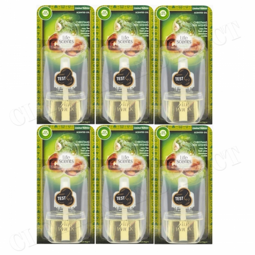 6 X AIRWICK ELECTRICAL PLUG IN OIL REFILL CHRISTMAS TREE WISHES FRESH PINE