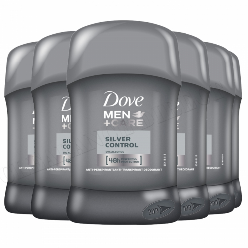 6 X DOVE MEN + CARE SILVER CONTROL ANTIPERSPIRANT DEODORANT STICK 50ML 48 HR
