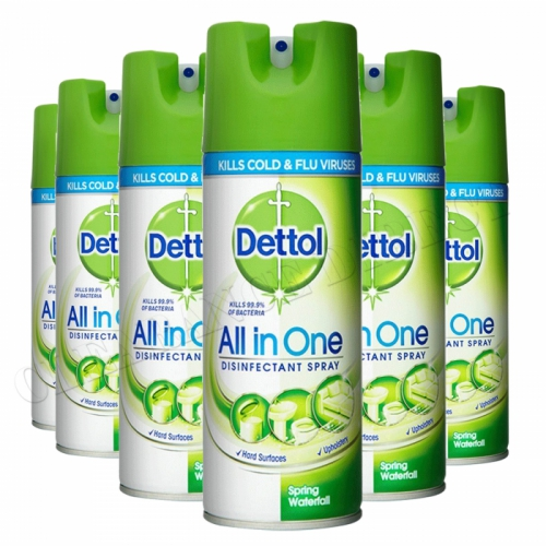 6 X Dettol All In One Spray 400ML Spring Waterfall Kills 99.9% Bacteria