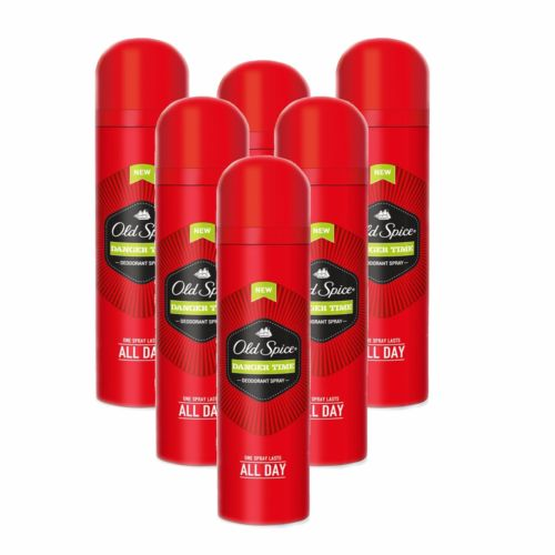 6 X OLD SPICE DEODORANT/ANTI-PERSPIRANT SPRAY 150ML - DANGER TIME FRAGRANCE