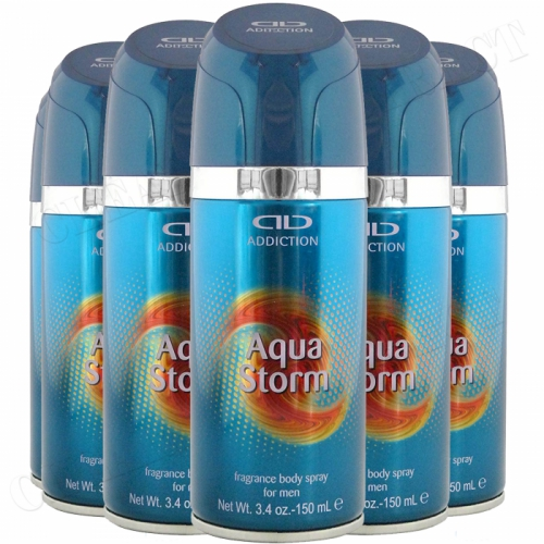 6 x 150 ml ADDICTION DEODORANT BODY SPRAY FOR MEN FRAGRANCED - AQUA STORM