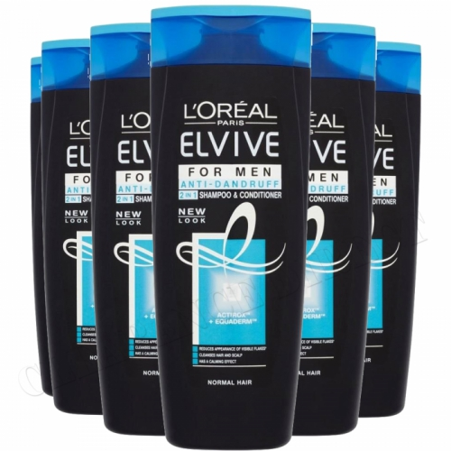 6 x 400ml LOreal Elvive FOR MEN Anti Dandruff 2in1 Shampoo & Conditioner