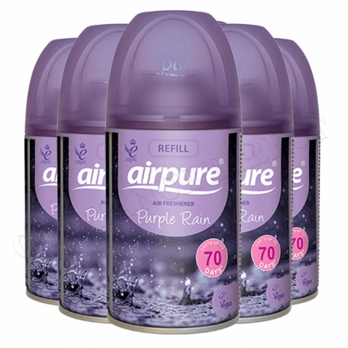 6 x AIRPURE PURPLE RAIN REFILL CAN/TIN AUTOMATIC FRAGRANCE AIR FRESHENER 250ml
