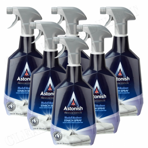 6 x ASTONISH PREMIUM EDITION SPRAY STARCH BLUEBELL MEADOWS 750ml