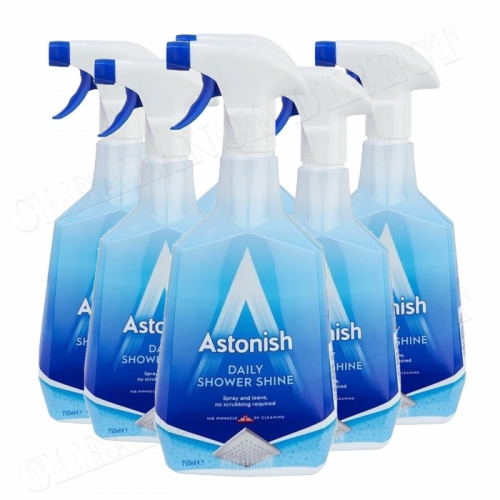 6 x Astonish Daily Shower Shine Cleaner Fresh Ocean Scent 750ml Trigger Spray
