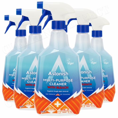 6 x Astonish Multi-Purpose Bleach Spray Hygienically Kills Bacteria Germs Clean