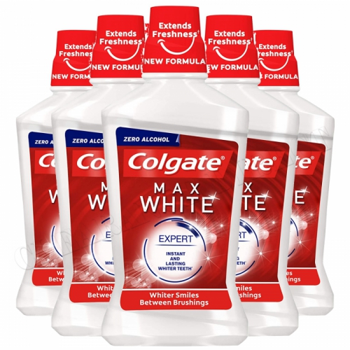 6 x COLGATE MAX WHITE WHITENING MOUTHWASH WHITER TEETH 250ML