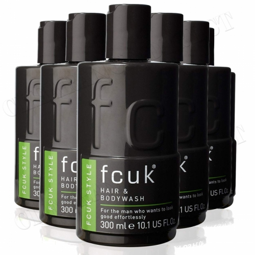 6 x Fcuk Style Men Shower Gel Hair & Bodywash Cleaning 300ml
