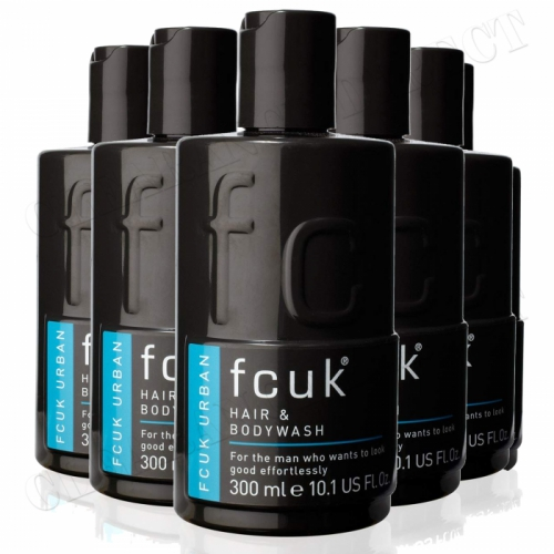 6 x Fcuk Style Men Shower Gel Hair & Bodywash Urban Cleaning 300ml