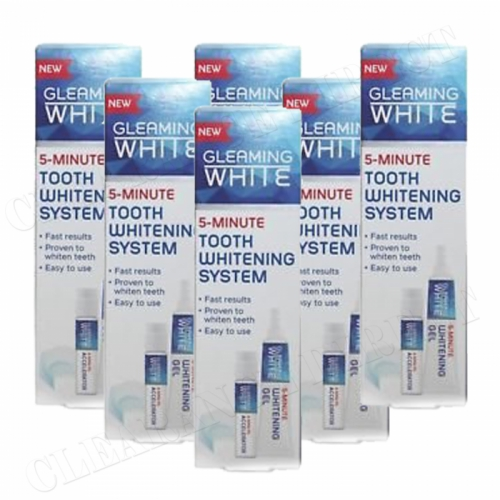 6 x Gleaming WHITE 5-MINUTE USA Teeth Whitening System with DUPLEX MOUTH TRAY
