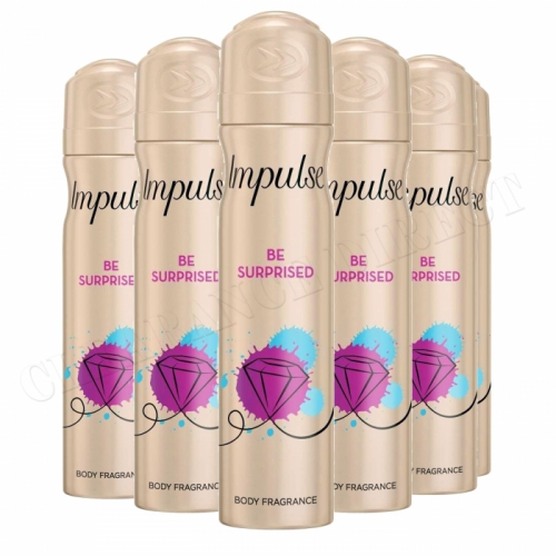 6 x IMPULSE BODY FRAGRANCE 75ml SPRAY BE SUPRISED