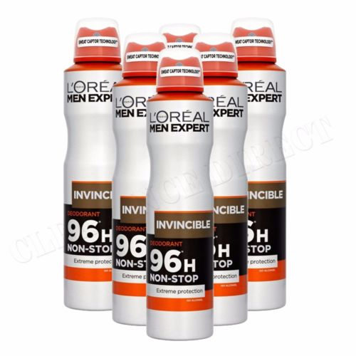 6 x L'Oreal Men Expert Invincible Non-Stop 96H Anti-Perspirant Deodorant 250ml