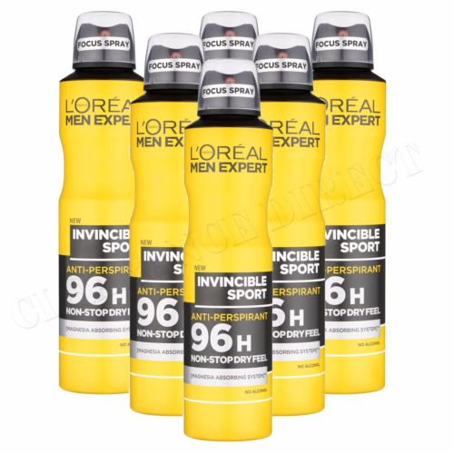 6 x L'Oreal Men Expert Invincible Sport 96H Anti-Perspirant Deodorant 250ml