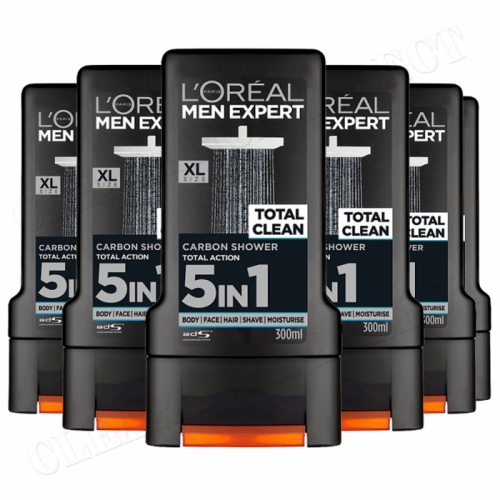 6x L'Oreal Men Expert Total Clean Carbon Shower Gel 300ml Face Body & Hair