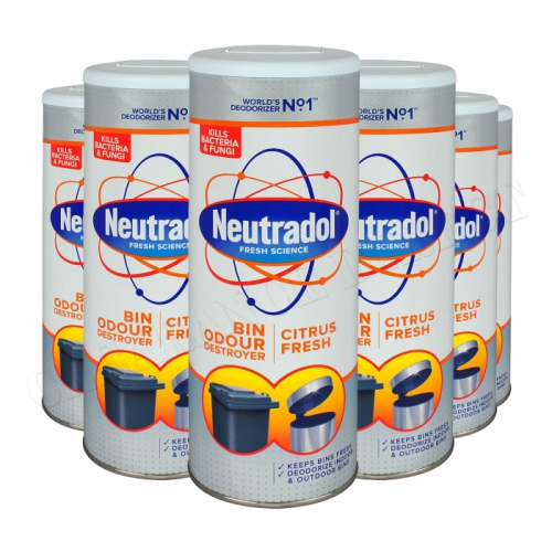 6 x NEUTRADOL DUSTBIN ODOUR DESTROYER KITCHEN BIN FRESHENER 350g CITRUS FRESH