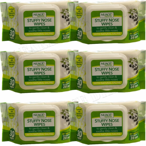 6 x NUAGE NATURALS SOFT BAMBOO FIBRE STUFFY NOSE BOOGIE WIPES 30's BIODEGRADABLE