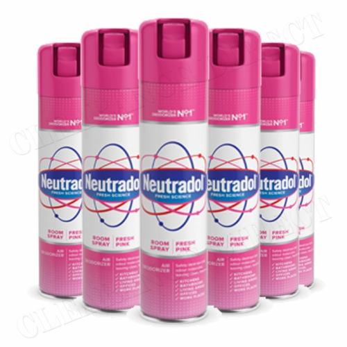 6 x Neutradol Fresh Pink Odour Destroyer Air Freshner Room Spray 300ml