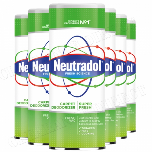 6 x Neutradol Super Fresh Carpet Odour Destroyer Air Freshner Vac n Clean 350g