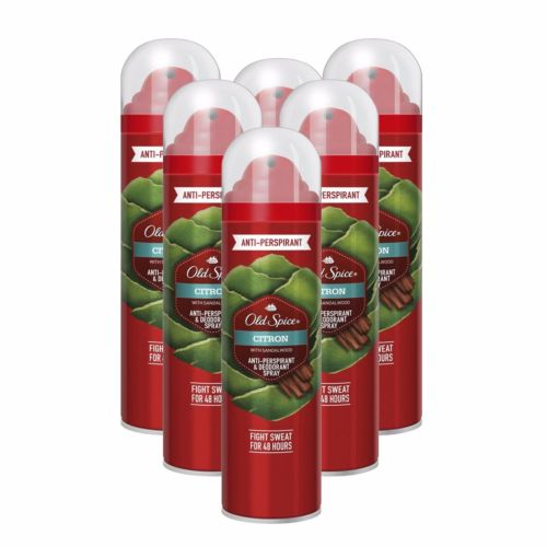 6 x Old Spice Citron Anti Perspirant Deodorant Body Spray Odour 125ml