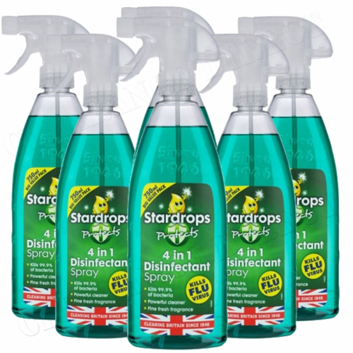 6 x STARDROPS 4 IN 1 PINE DISINFECTANT SPRAY 750ml