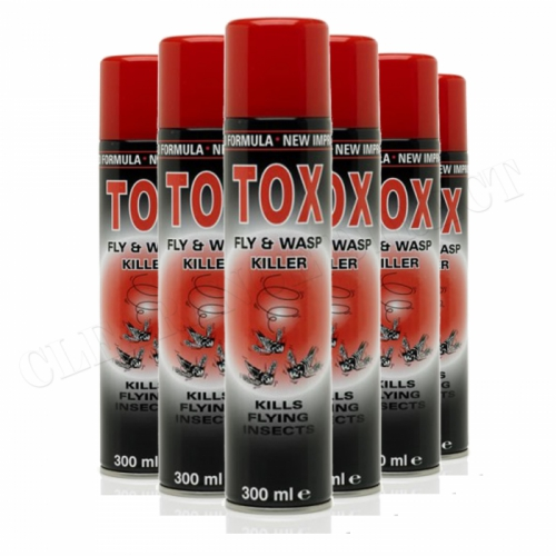 6 x TOX FLY & WASP KILLER INSECTICIDE FAST ACTING AEROSOL SPRAY 300ml