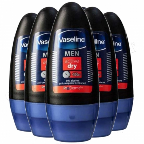 6 x Vaseline Men ACTIVE DRY 48H Roll-On Anti-Perspirant Deodorant 50ml