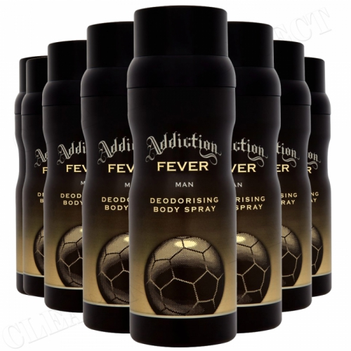 8 X ADDICTION FEVER MAN DEODORISING BODY SPRAY 150ML EACH