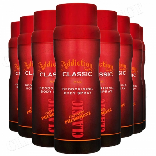 8 x ADDICTION CLASSIC MENS Deodorant Body Spray with Pheromone 150ml