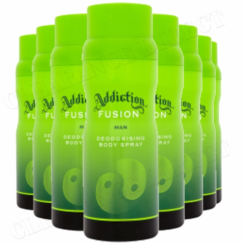 8 x ADDICTION FUSION DEODORISING BODY SPRAY FOR MEN 150ml