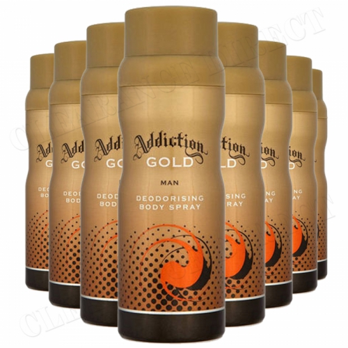 8 x ADDICTION GOLD DEODORISING BODY SPRAY FOR MEN 150ml