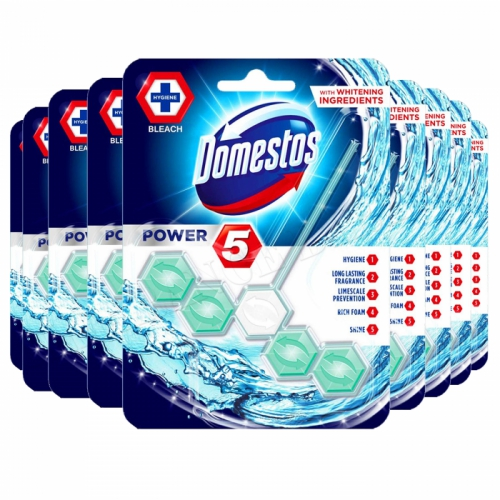 9 x DOMESTOS POWER 5 RIM BLOCK TOILET BOWL CLEANER FRESHENER Hygiene- Bleach