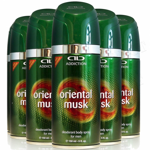 ADDICTION ORIENTAL MUSK DEODORANT BODY SPRAY FOR MEN 150ML 6 PACK