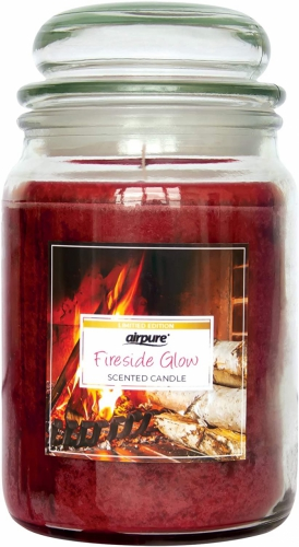 AIRPURE CANDLE FIRESIDE GLOW 510g 75-90hr BURN TIME WARM AND HOMEY FRAGRANCE