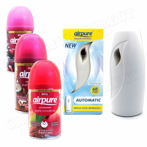 Airpure Air Freshner Automatic Spray Machine 3 x Refills Christmas Scent Airwick