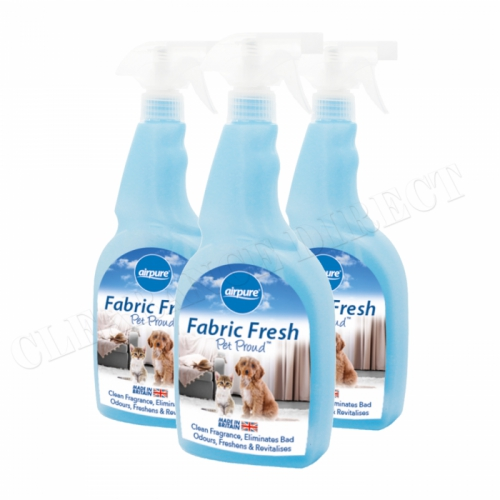 Airpure Fabric Freshener Pet Proud Trigger Spray 750ml x 3 Eliminates Bad Odours