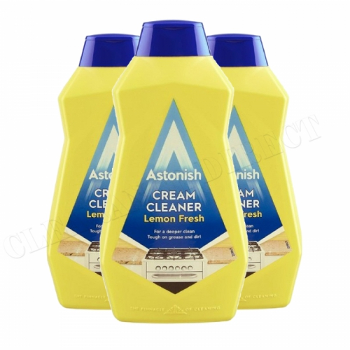Astonish Cream Cleaner 500ml Lemon Fresh 3 Pack kitchen Bathroom Vegan Friendly