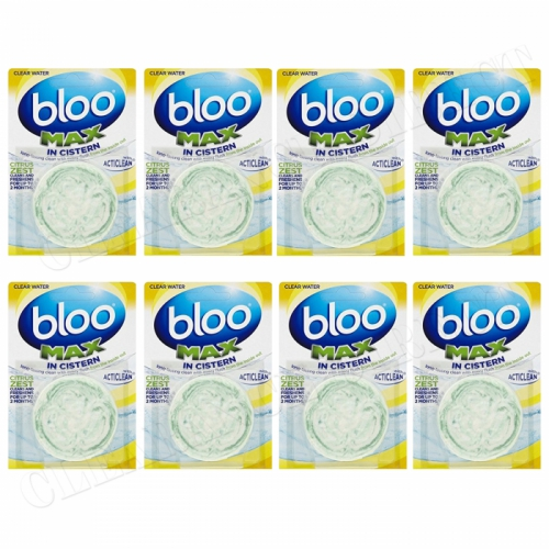 Bloo In Cistern Max Citrus Zest Water Block Hygiene Cleaner Toilet Cistern x 8