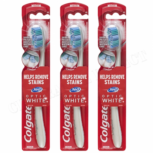 COLGATE 360 OPTIC WHITE MEDIUM TOOTHBRUSH x 3- REMOVES STAINS
