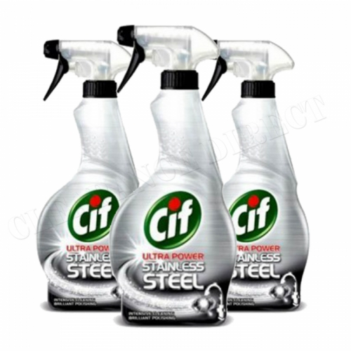 Cif Stainless Steel Cleaner 3 x 450ml Triple Pack Trigger Spray