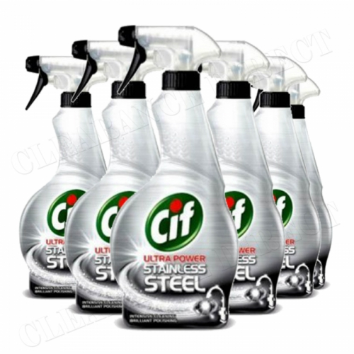 Cif Stainless Steel Cleaner 6 x 450ml Triple Pack Trigger Spray