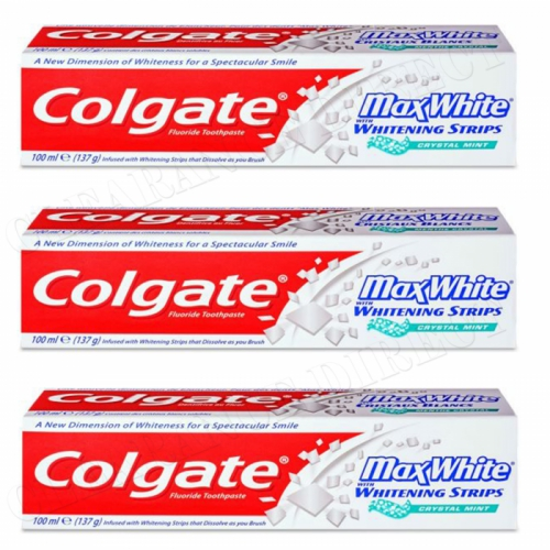 Colgate Max White Micro-Crystals Toothpaste 100 ml X 3 With Whitening Strips
