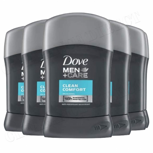 DOVE MEN+CARE CLEAN COMFORT ANTI-PERSPIRANT DEODORANT STICK 50ML 6 PACK