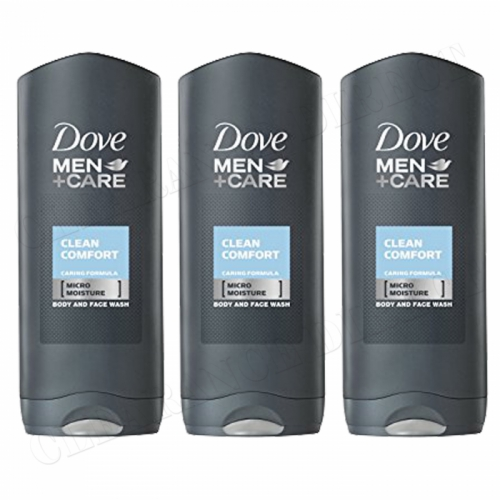 DOVE Men + Care Clean Comfort Body and Face Wash Shower Gel Caring 400ml x 3