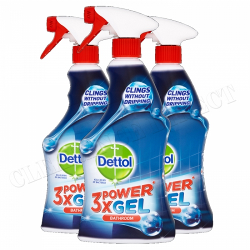 Dettol x3 Power Gel Bathroom Cleaner Cleanser - Pack of 3 Kills 99.9% of Viruses