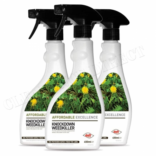 Doff Weedkiller Fast Action Systemic Weedkiller 450ml Highly Effective x 3