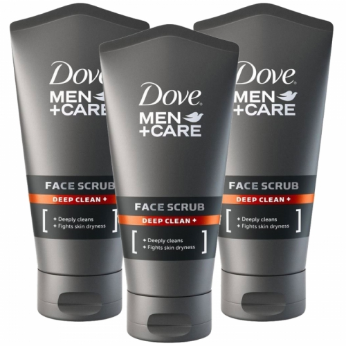 Dove Men + Care Deep Clean Face Facial Scrub 150ml x 3