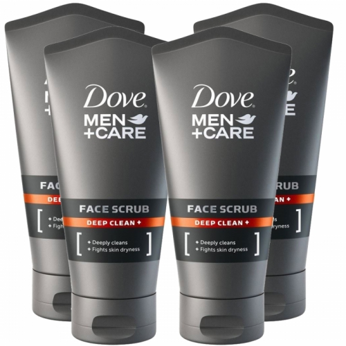 Dove Men + Care Deep Clean Face Facial Scrub 150ml x 4