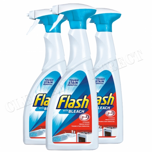Flash with Bleach 3-in-1 Tough Stain Removal Spray, 450ml, Pack of 3