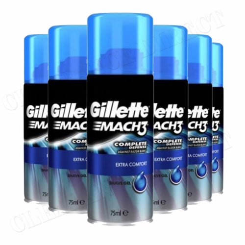 Gillette Mach3 Extra Comfort Shaving Gel 75ml x 6 Complete Defense Travel Size