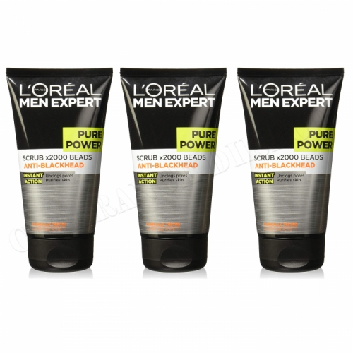 L'Oreal Men Expert Pure Power Scrub x2000 Beads Anti-Blackhead 150ml x 3